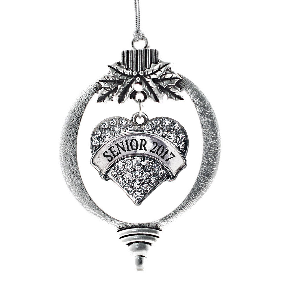 Senior 2017 Pave Heart Charm Christmas / Holiday Ornament