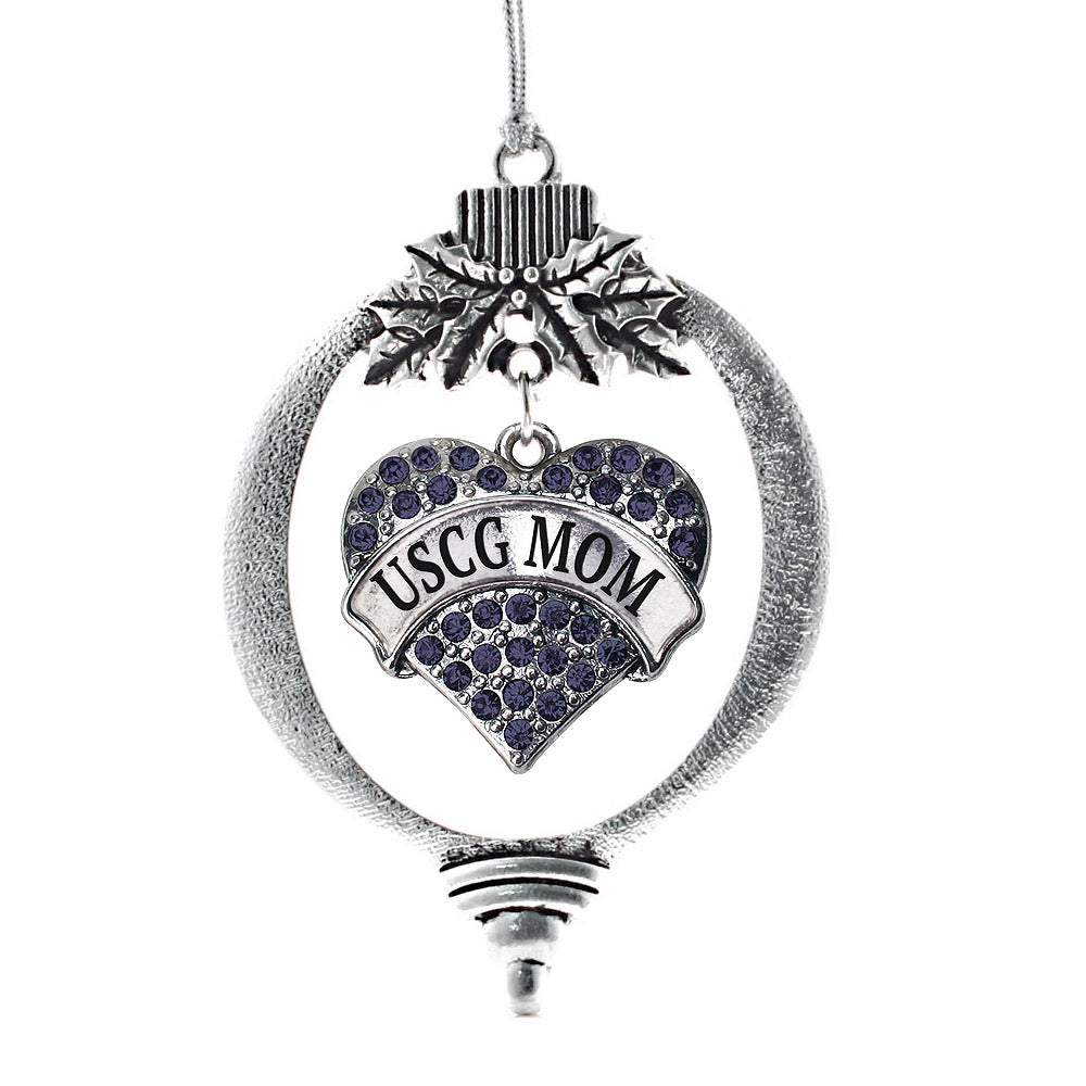 USCG Mom Pave Heart Charm Christmas / Holiday Ornament