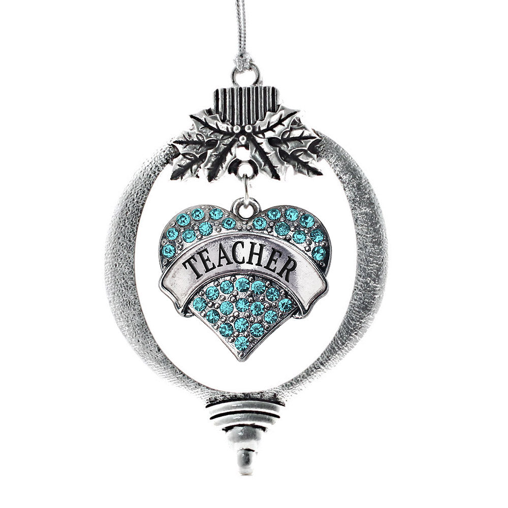 Teacher Aqua Pave Heart Charm Christmas / Holiday Ornament