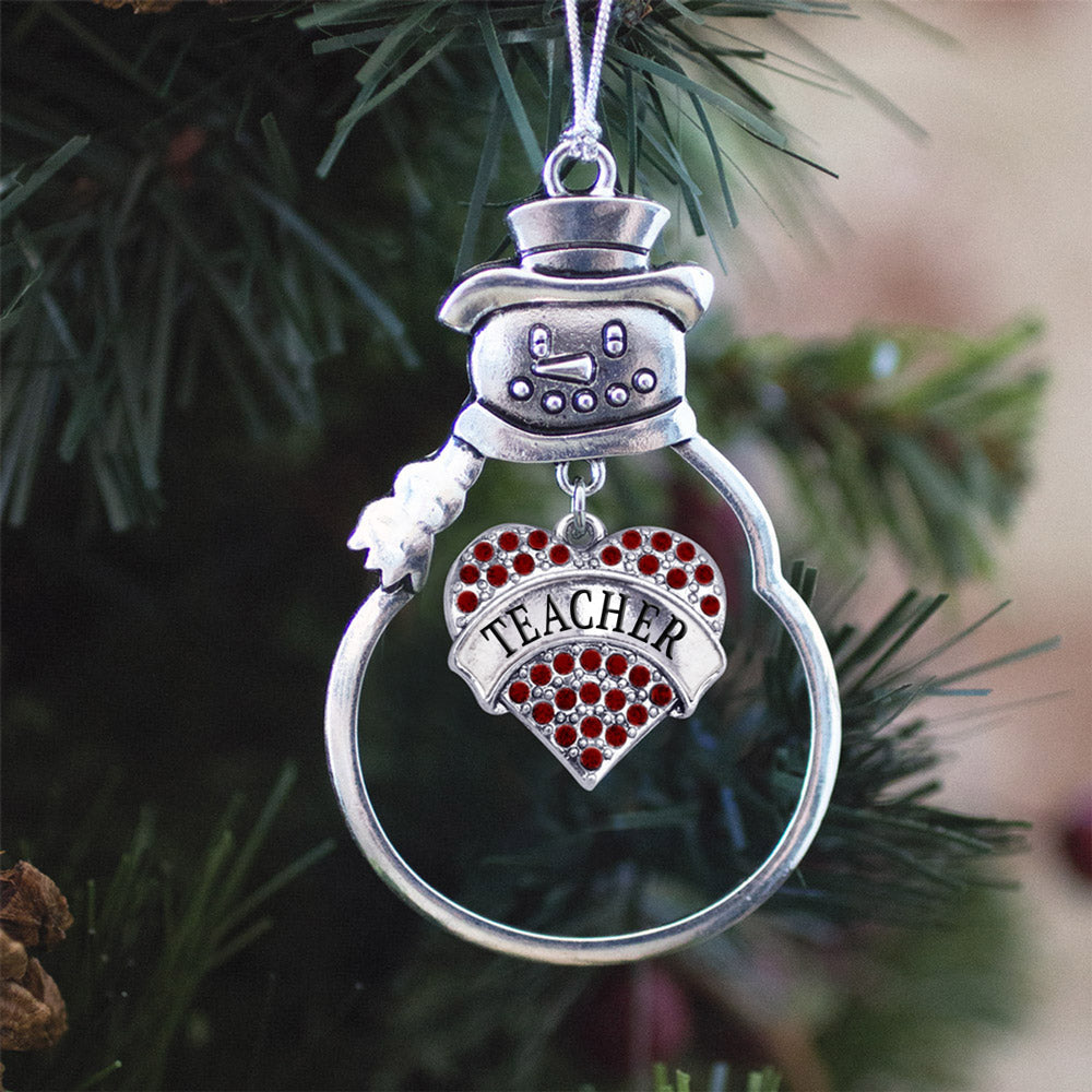 Teacher Red Pave Heart Charm Christmas / Holiday Ornament