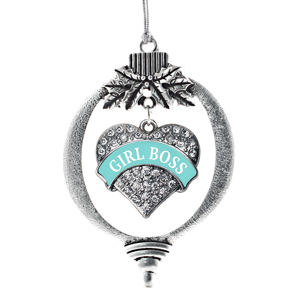 Teal Girl Boss Pave Heart Charm Christmas / Holiday Ornament