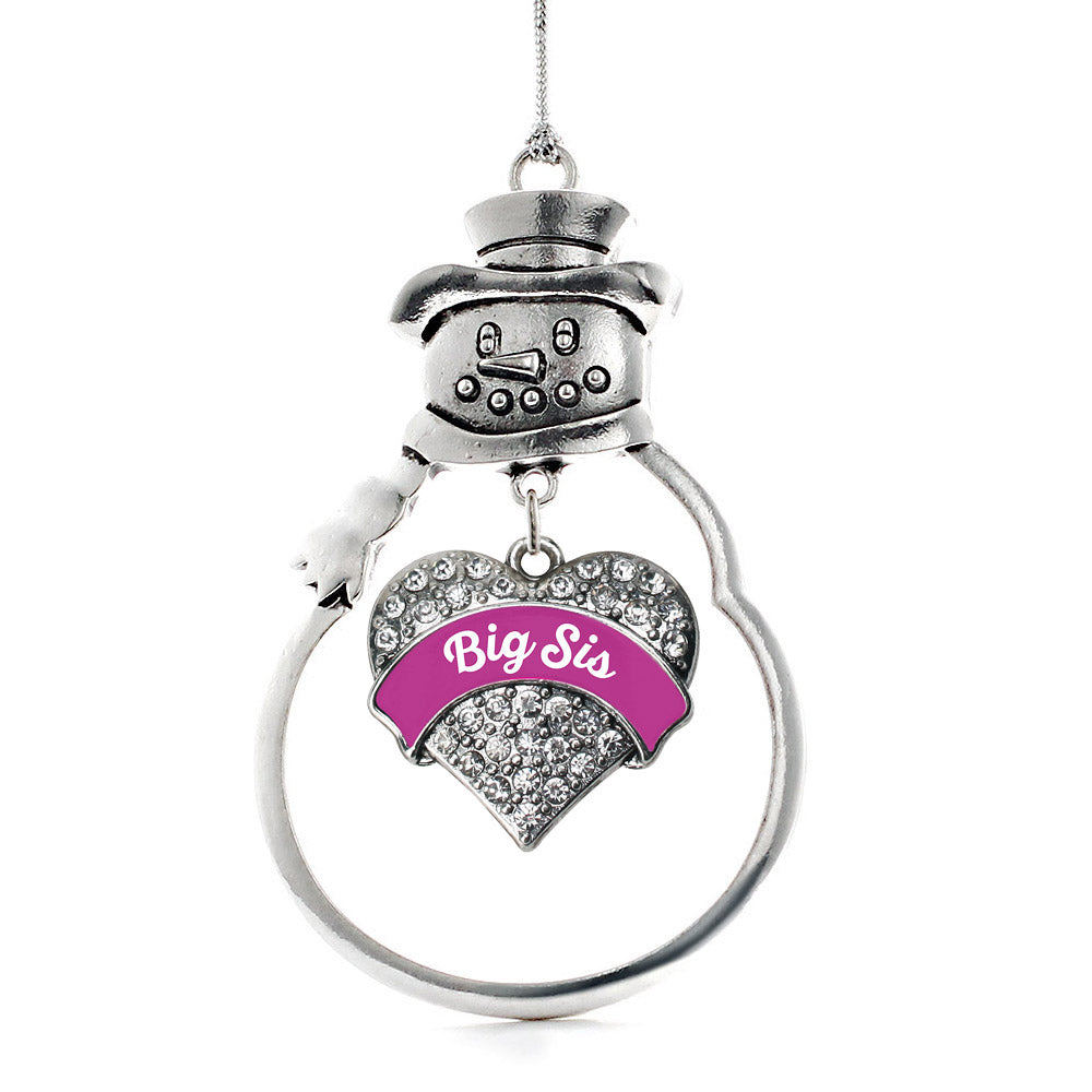 Magenta Big Sister Pave Heart Charm Christmas / Holiday Ornament