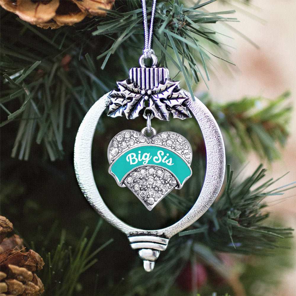 Teal Big Sister Pave Heart Charm Christmas / Holiday Ornament