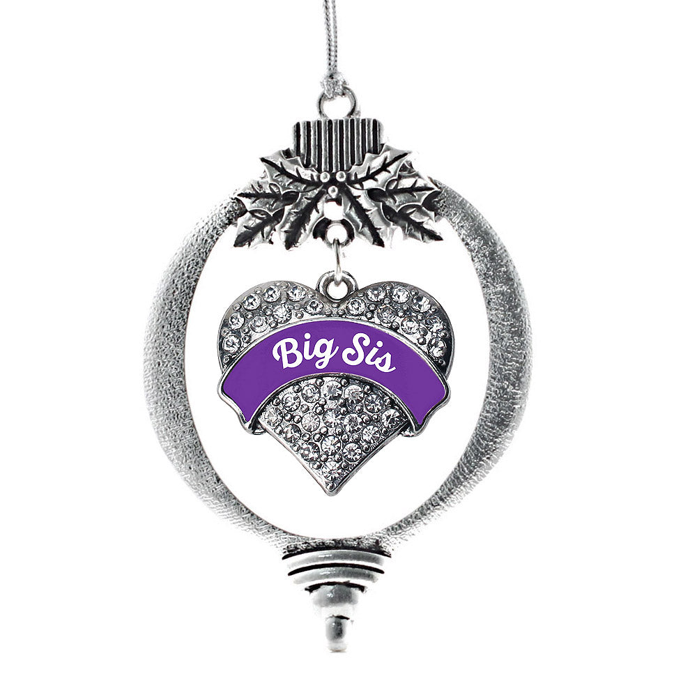 Purple Big Sister Pave Heart Charm Christmas / Holiday Ornament