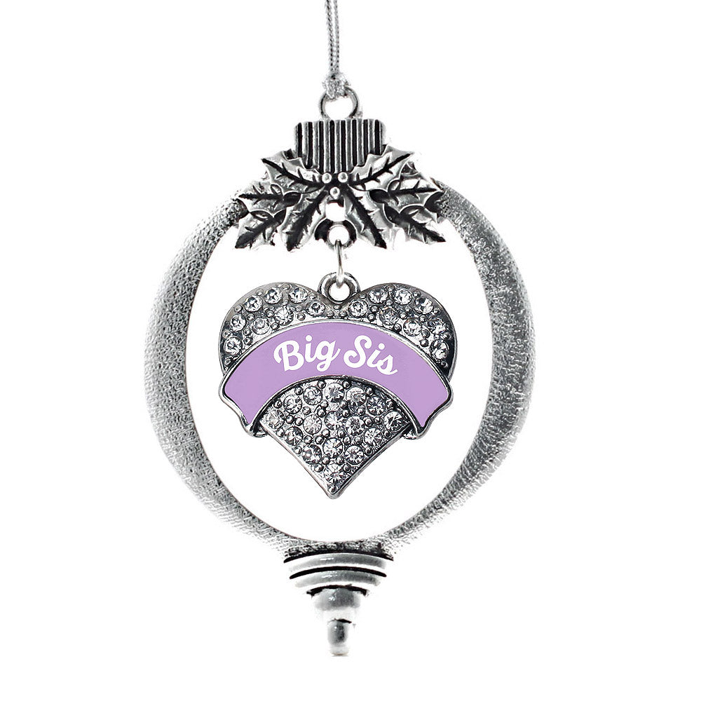 Lavender Big Sister Pave Heart Charm Christmas / Holiday Ornament