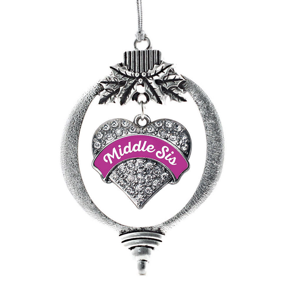 Magenta Middle Sister Pave Heart Charm Christmas / Holiday Ornament