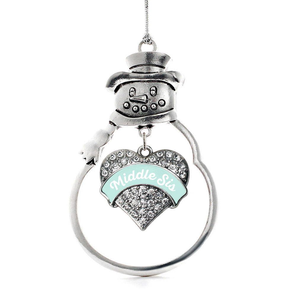 Mint Middle Sister Pave Heart Charm Christmas / Holiday Ornament