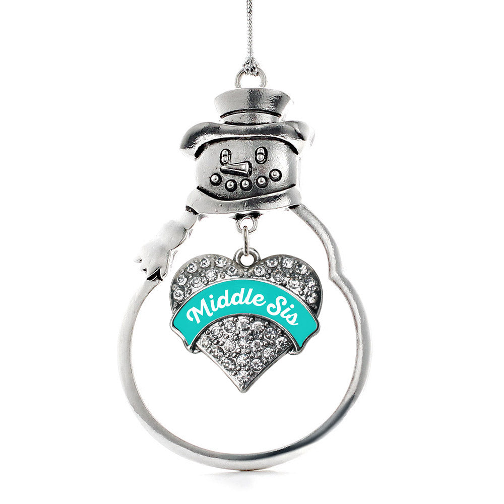 Teal Middle Sister Pave Heart Charm Christmas / Holiday Ornament