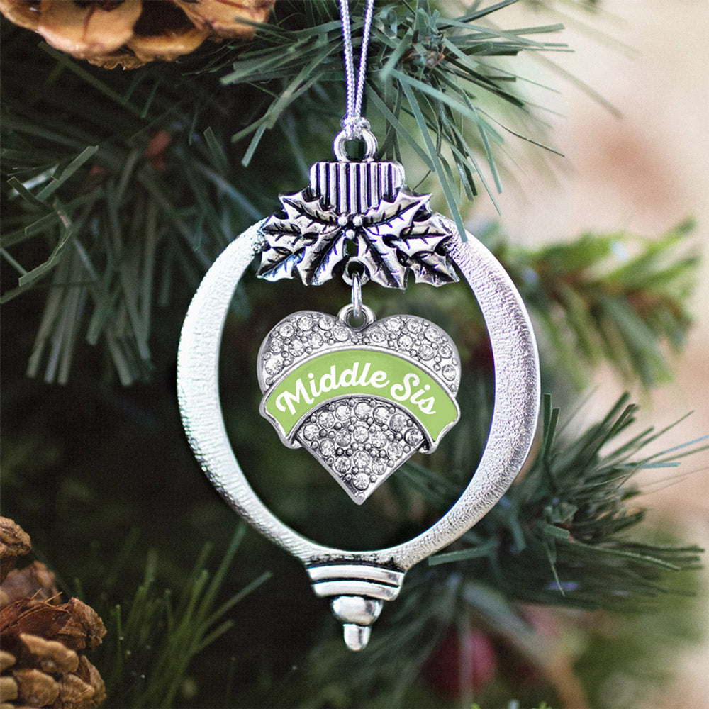 Sage Green Middle Sister Pave Heart Charm Christmas / Holiday Ornament