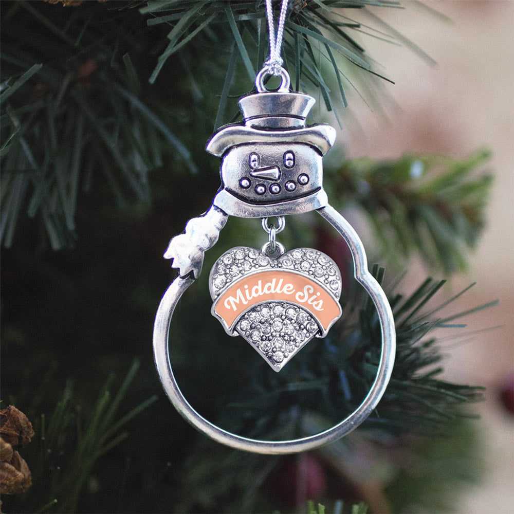 Peach Middle Sister Pave Heart Charm Christmas / Holiday Ornament