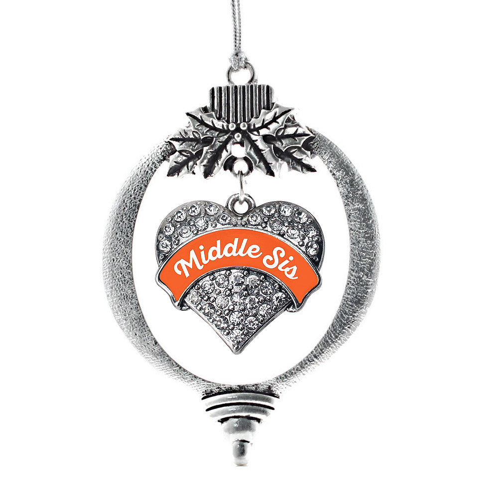 Orange Middle Sister Pave Heart Charm Christmas / Holiday Ornament