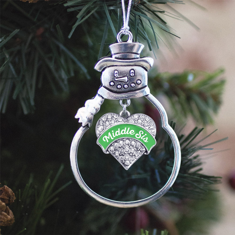 Emerald Green Middle Sister Pave Heart Charm Christmas / Holiday Ornament