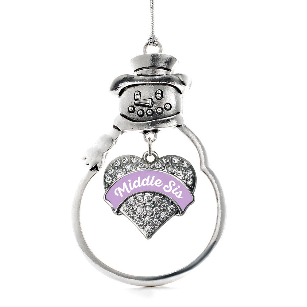 Lavender Middle Sister Pave Heart Charm Christmas / Holiday Ornament