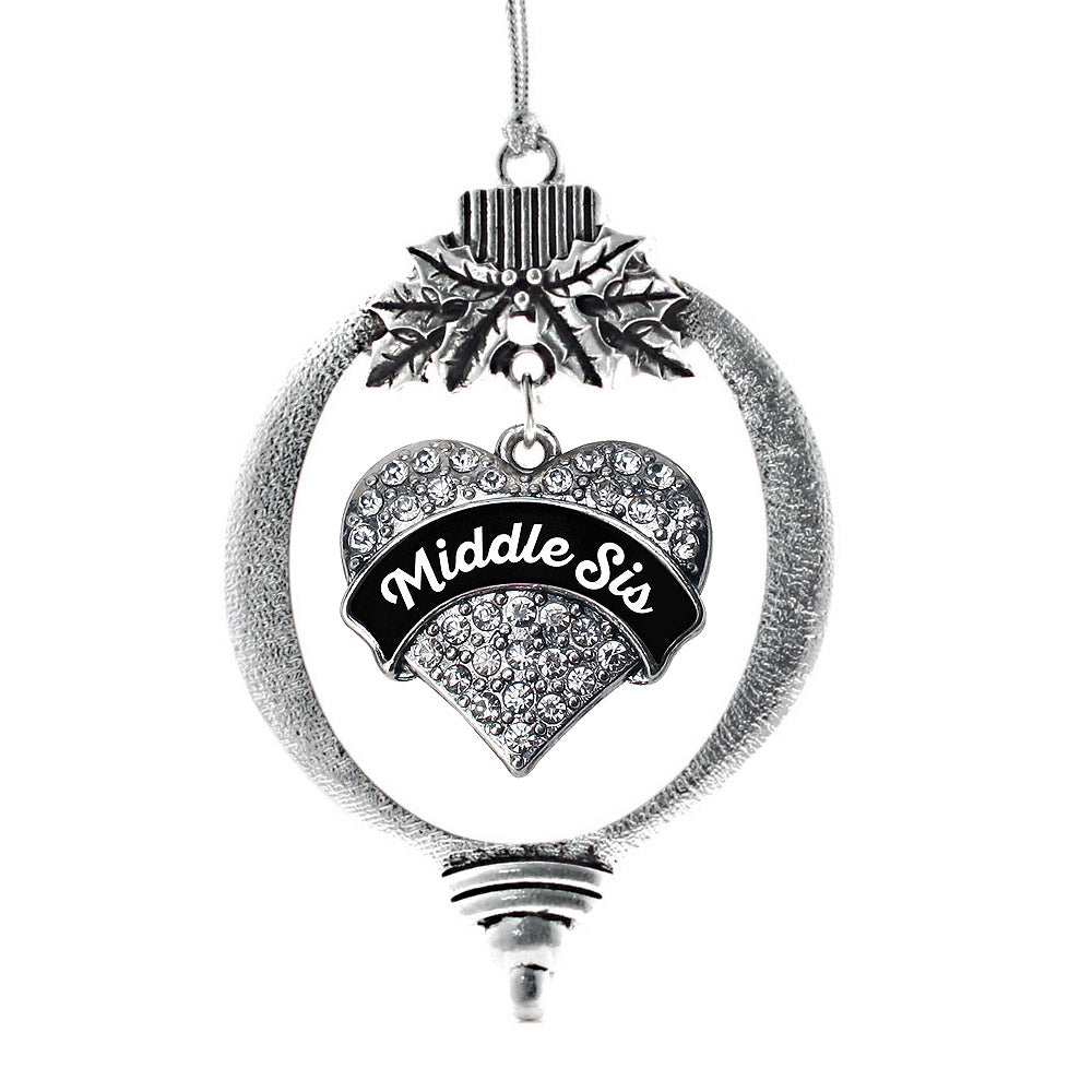 Black and White Middle Sister Pave Heart Charm Christmas / Holiday Ornament