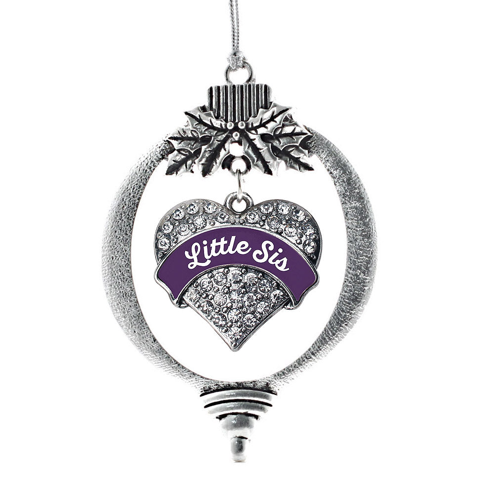 Plum Little Sister Pave Heart Charm Christmas / Holiday Ornament