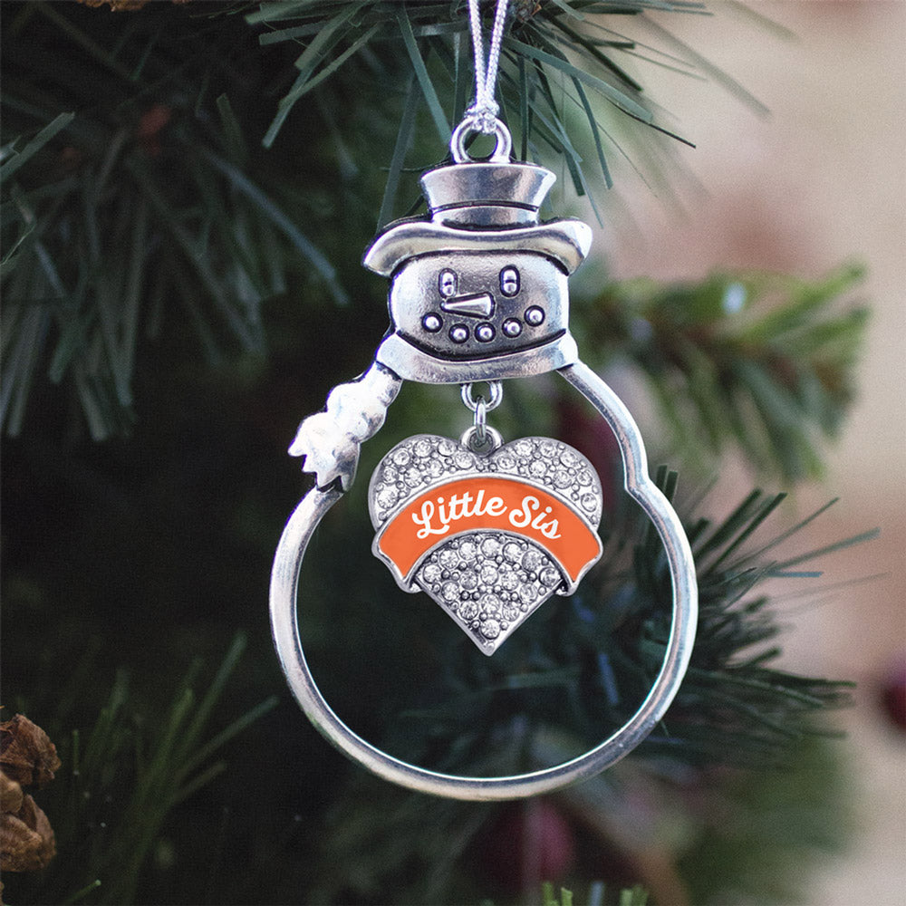 Orange Little Sister Pave Heart Charm Christmas / Holiday Ornament
