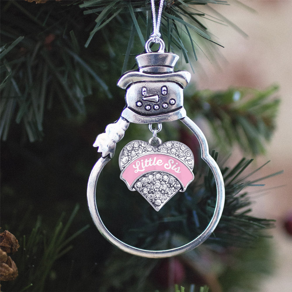 Pink Little Sister Pave Heart Charm Christmas / Holiday Ornament