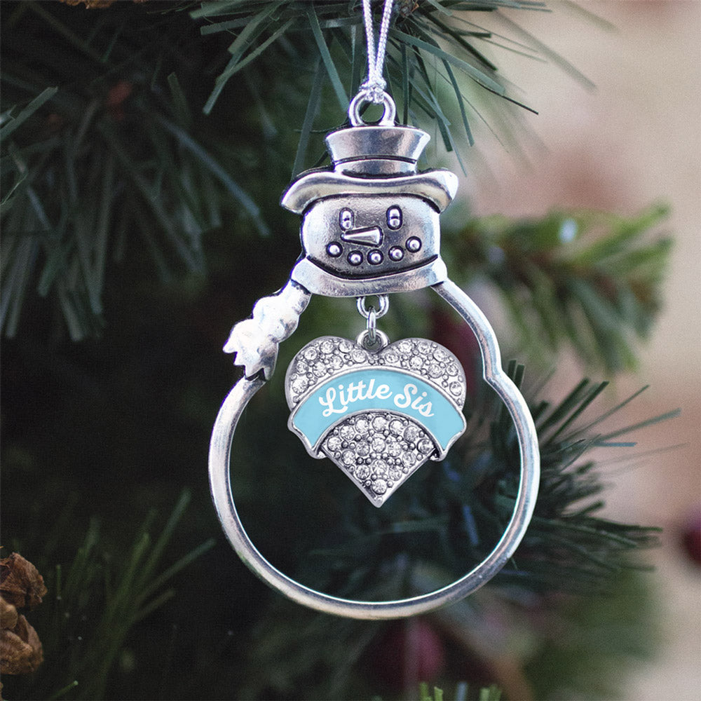 Light Blue Little Sister Pave Heart Charm Christmas / Holiday Ornament