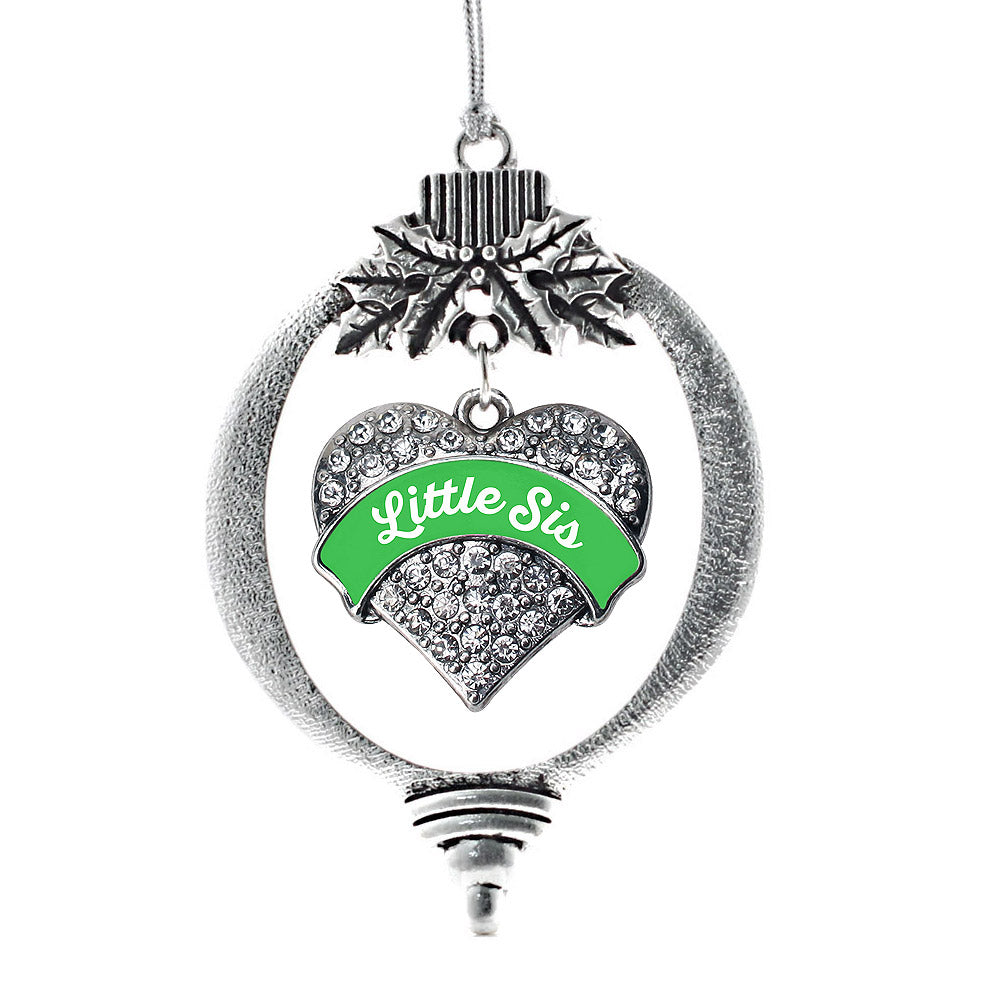 Emerald Green Little Sister Pave Heart Charm Christmas / Holiday Ornament