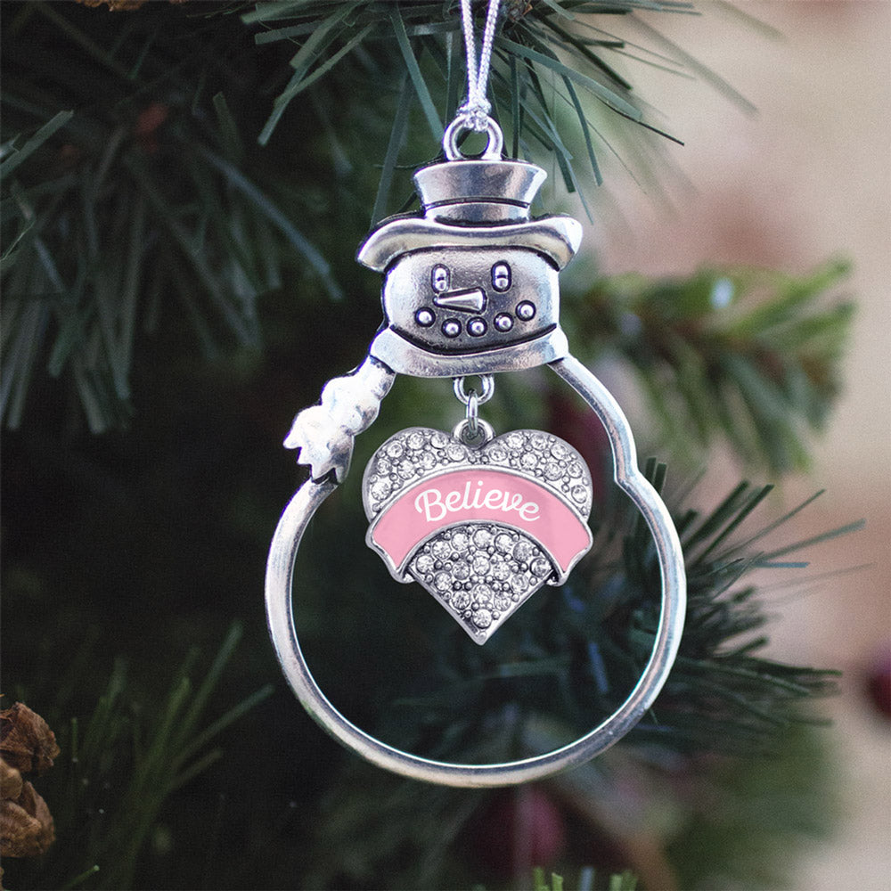Pink Script Believe Breast Cancer Support Pave Heart Charm Christmas / Holiday Ornament