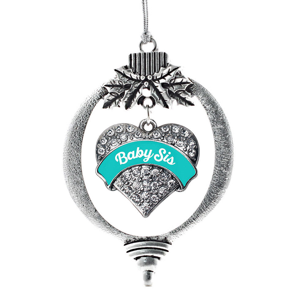 Teal Baby Sister Pave Heart Charm Christmas / Holiday Ornament