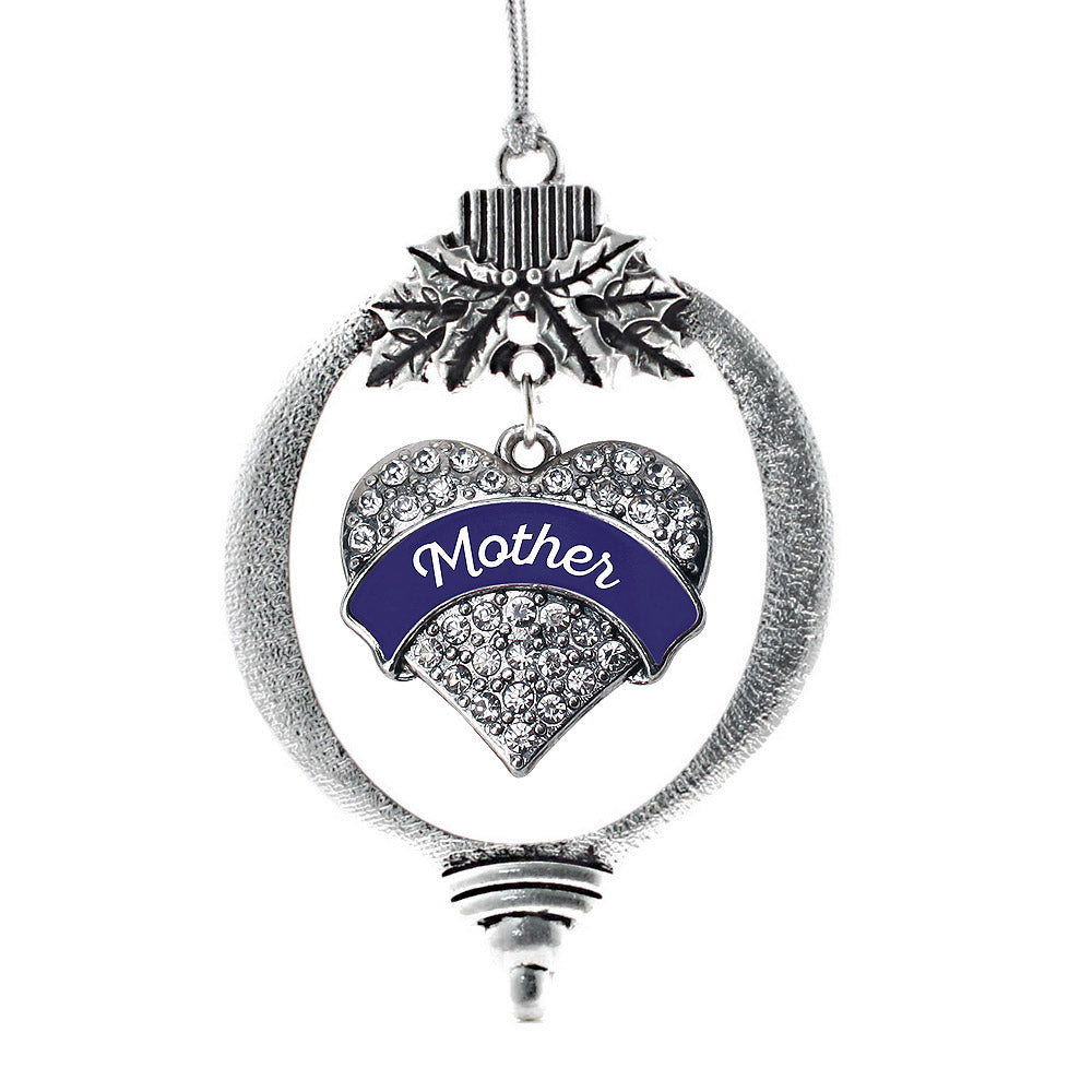 Navy Blue Mother Pave Heart Charm Christmas / Holiday Ornament