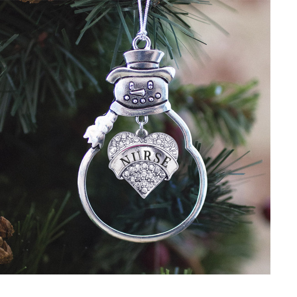 Crystal Nurse Pave Heart Charm Christmas / Holiday Ornament