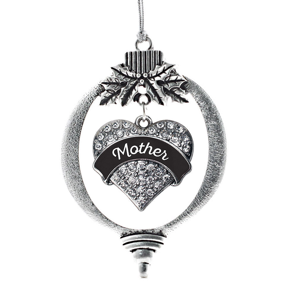 Black and White Mother Pave Heart Charm Christmas / Holiday Ornament
