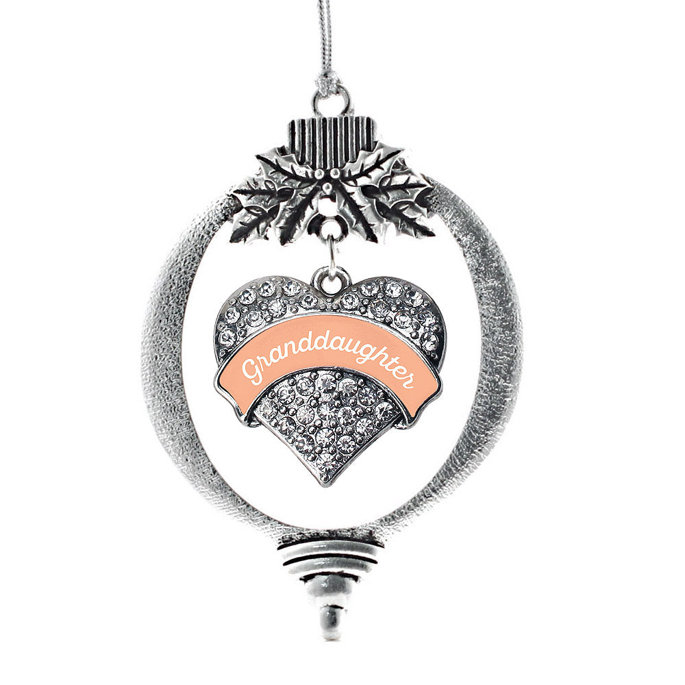 Peach Granddaughter Pave Heart Charm Christmas / Holiday Ornament