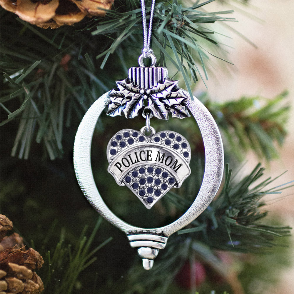 Police Mom Navy Blue Pave Heart Charm Christmas / Holiday Ornament