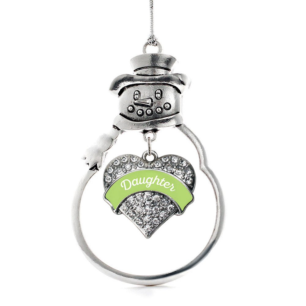 Sage Green Daughter Pave Heart Charm Christmas / Holiday Ornament