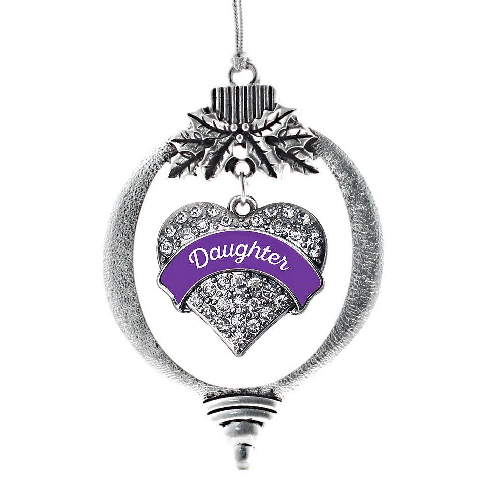 Purple Daughter Pave Heart Charm Christmas / Holiday Ornament