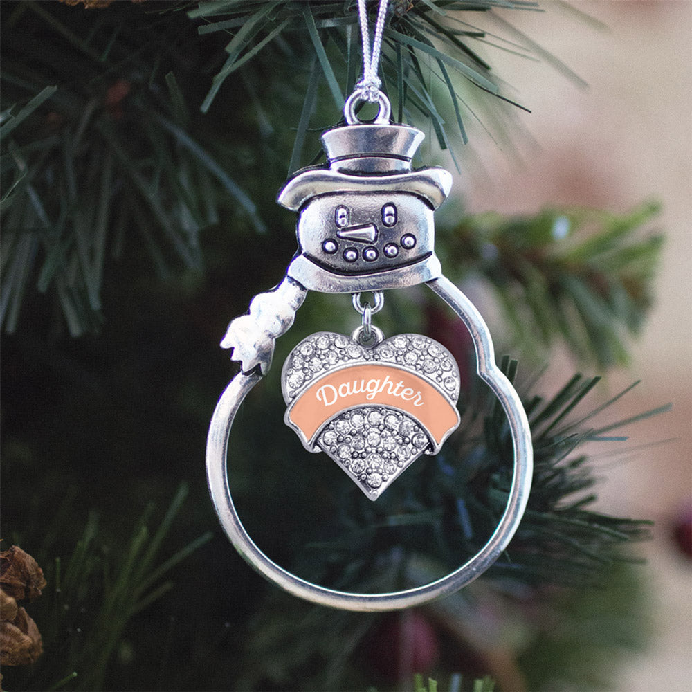 Peach Daughter Pave Heart Charm Christmas / Holiday Ornament