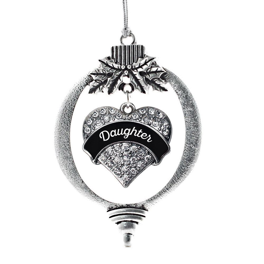 Black and White Daughter Pave Heart Charm Christmas / Holiday Ornament