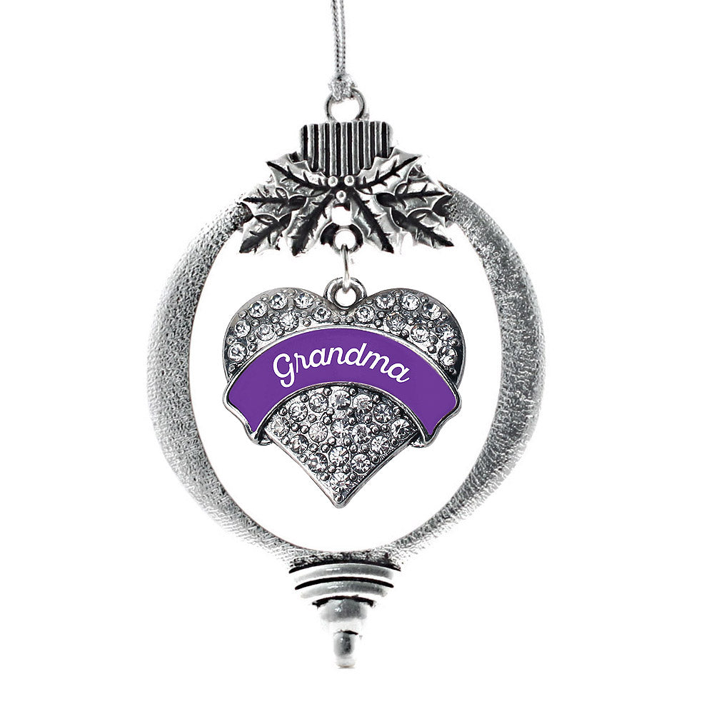 Purple Grandma Pave Heart Charm Christmas / Holiday Ornament
