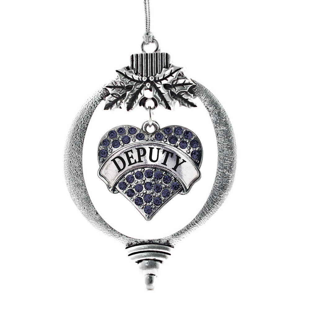 Deputy Pave Heart Charm Christmas / Holiday Ornament