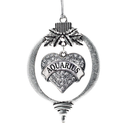 Aquarius Zodiac Pave Heart Charm Christmas / Holiday Ornament