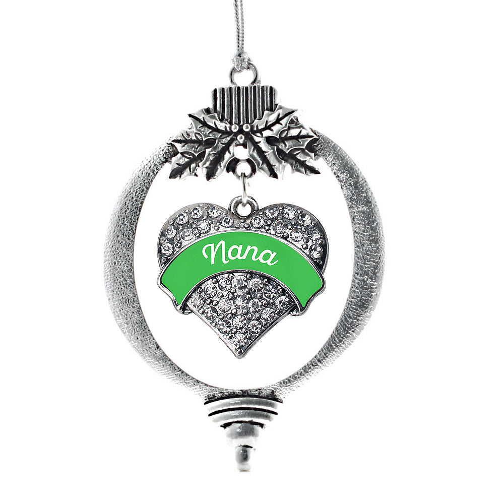 Emerald Green Nana Pave Heart Charm Christmas / Holiday Ornament