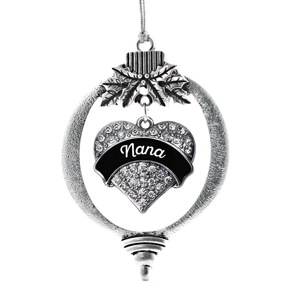 Black and White Nana Pave Heart Charm Christmas / Holiday Ornament