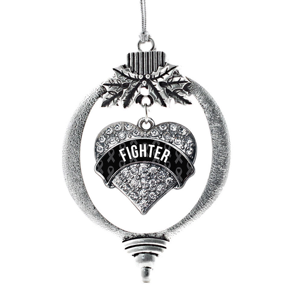 Black Fighter Pave Heart Charm Christmas / Holiday Ornament