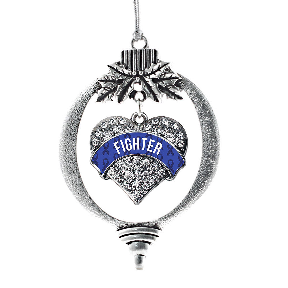 Blue Fighter Pave Heart Charm Christmas / Holiday Ornament