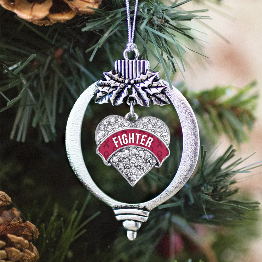 Burgundy Fighter Pave Heart Charm Christmas / Holiday Ornament