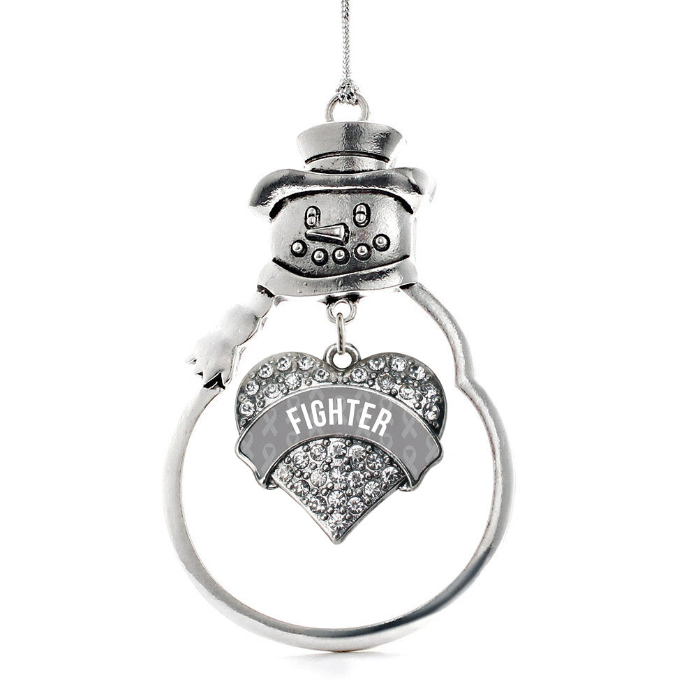 Gray Fighter Pave Heart Charm Christmas / Holiday Ornament