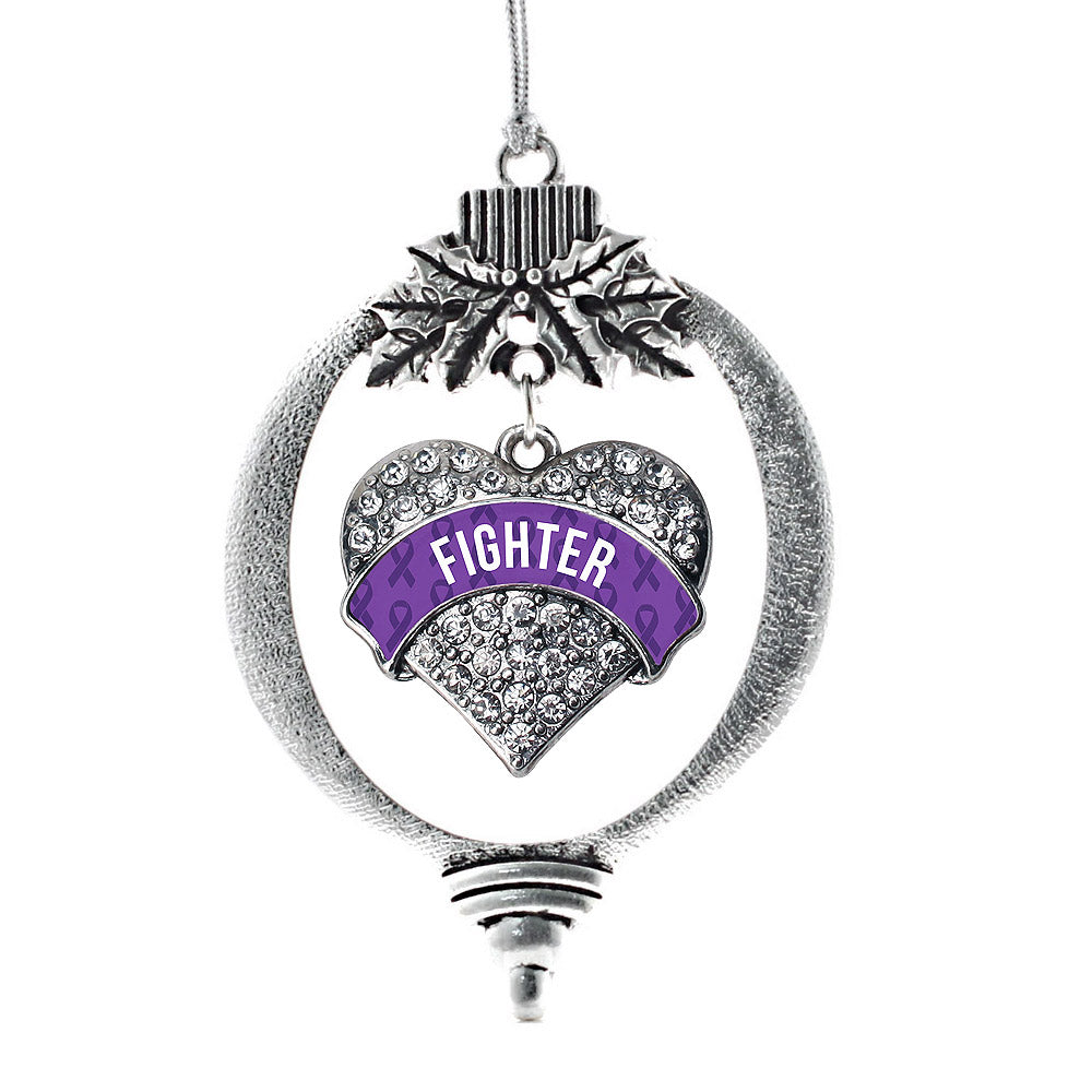 Purple Fighter Pave Heart Charm Christmas / Holiday Ornament