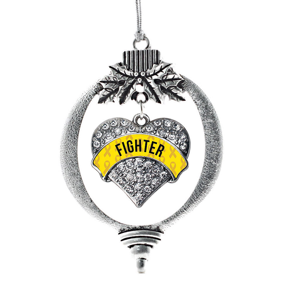 Yellow Fighter Pave Heart Charm Christmas / Holiday Ornament