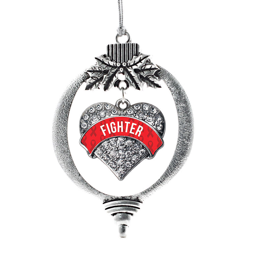 Red Fighter Pave Heart Charm Christmas / Holiday Ornament