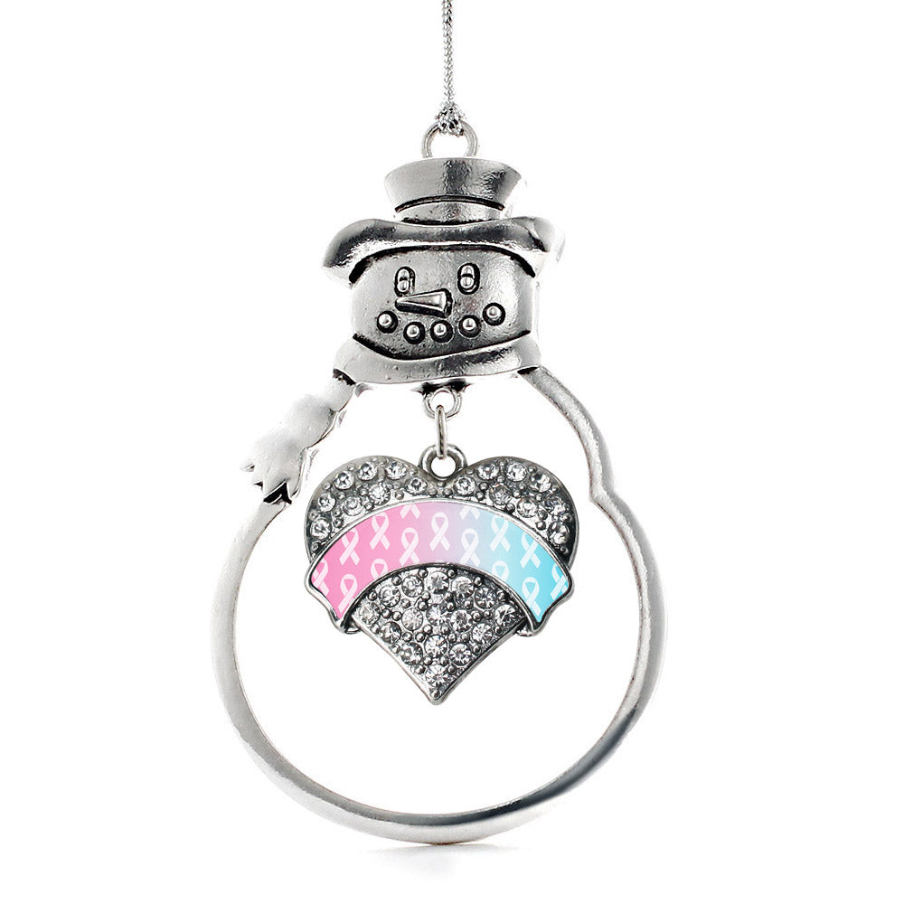 Light Blue & Light Pink Ribbon Support Pave Heart Charm Christmas / Holiday Ornament