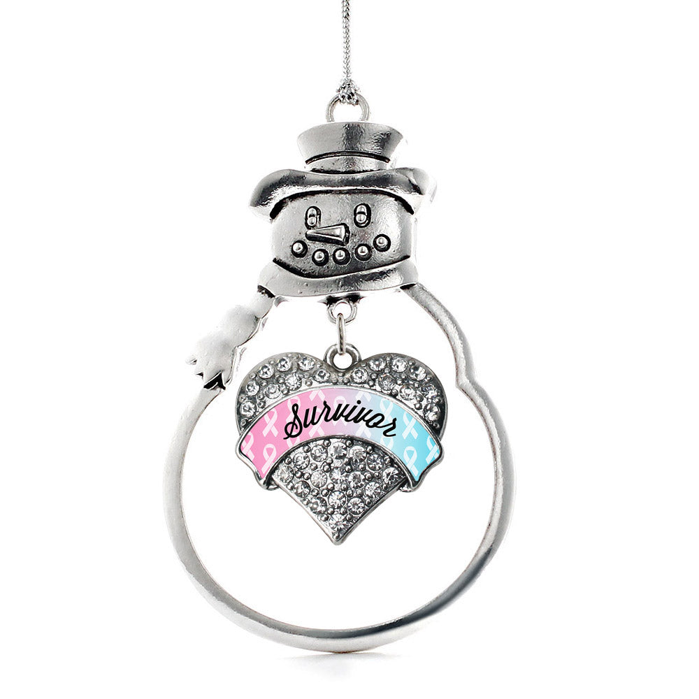 Light Blue & Light Pink Ribbon Survivor Pave Heart Charm Christmas / Holiday Ornament