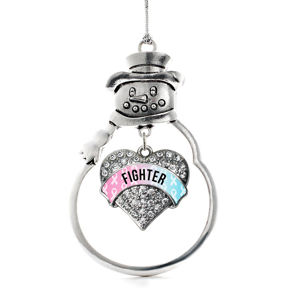 Light Blue & Light Pink Ribbon Fighter Pave Heart Charm Christmas / Holiday Ornament