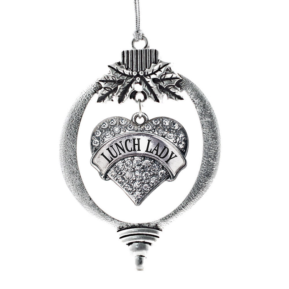 Lunch Lady Pave Heart Charm Christmas / Holiday Ornament